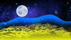 唯美月亮古建筑视频素材