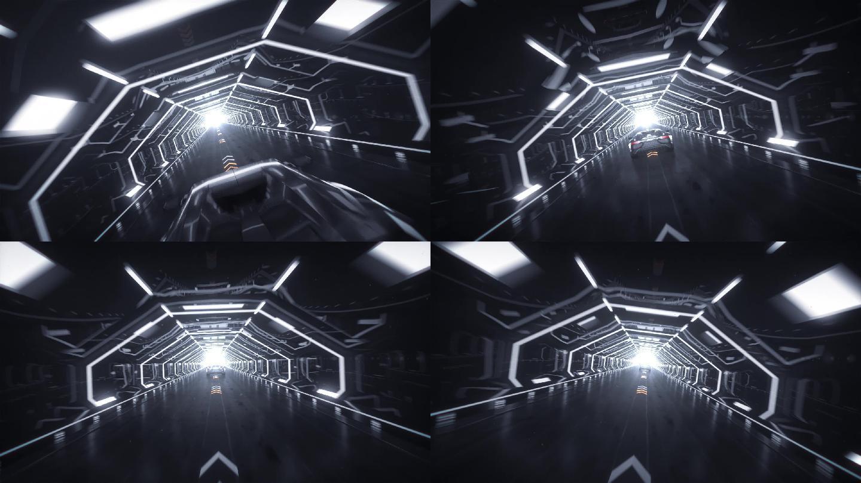 3D三维汽车穿梭隧道动画视频