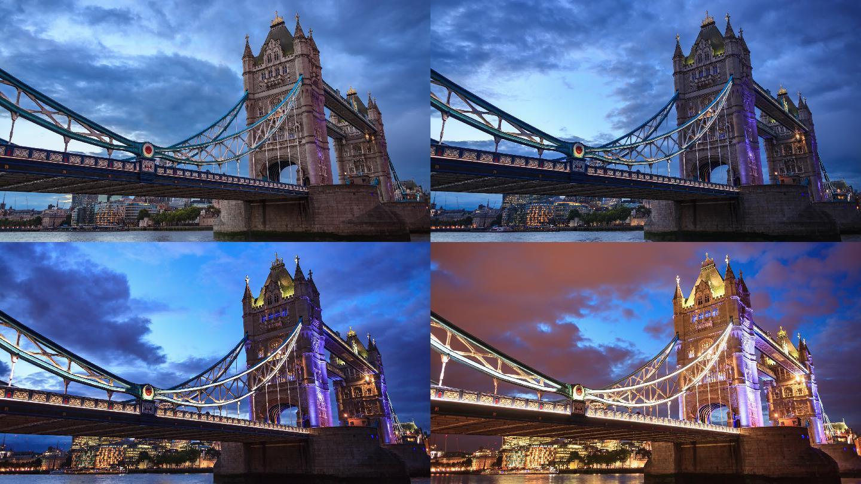 伦敦塔桥日夜交替
