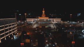 4K长沙五一路火车站夜景航拍空镜视频素材