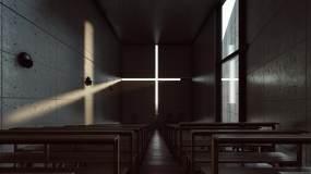 4k光之教堂抽象建筑光影艺术_4视频素材