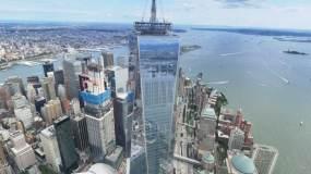 纽约自由塔和曼哈顿下城鸟瞰图视频素材