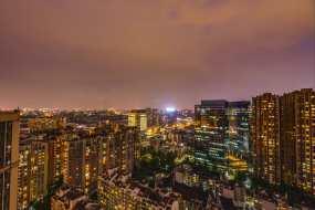成都南二环城市天际线夜景延时摄影4K视频素材