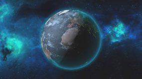 宇宙中旋转的地球AE模板