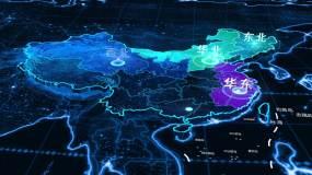 中國地圖七大行政地理分區AE模板