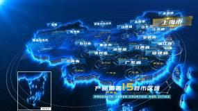 中國地圖區位定位科技上海輻射全國AE模板