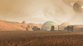 像火星一样的红色星球上的殖民地视频素材