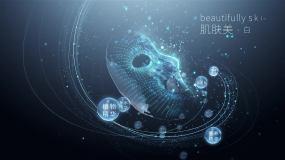 面膜精华水珠补水分子视频海报广告化妆品AE模板