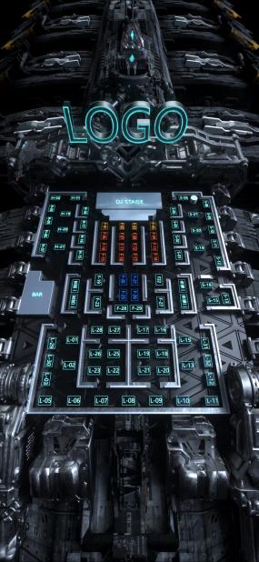 C4D太空飞船夜店酒吧动态座位图卡座图C4D工程