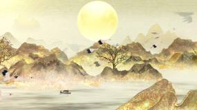 古风水墨鎏金山脉仙鹤飞舞视频素材