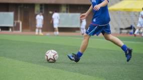 校园足球比赛射球进门瞬间足球入网守门员视频素材包