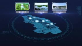 科技地图海绵城市区位分布AE模板