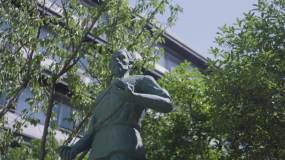 鲁班雕塑鲁班奖实拍画面视频素材