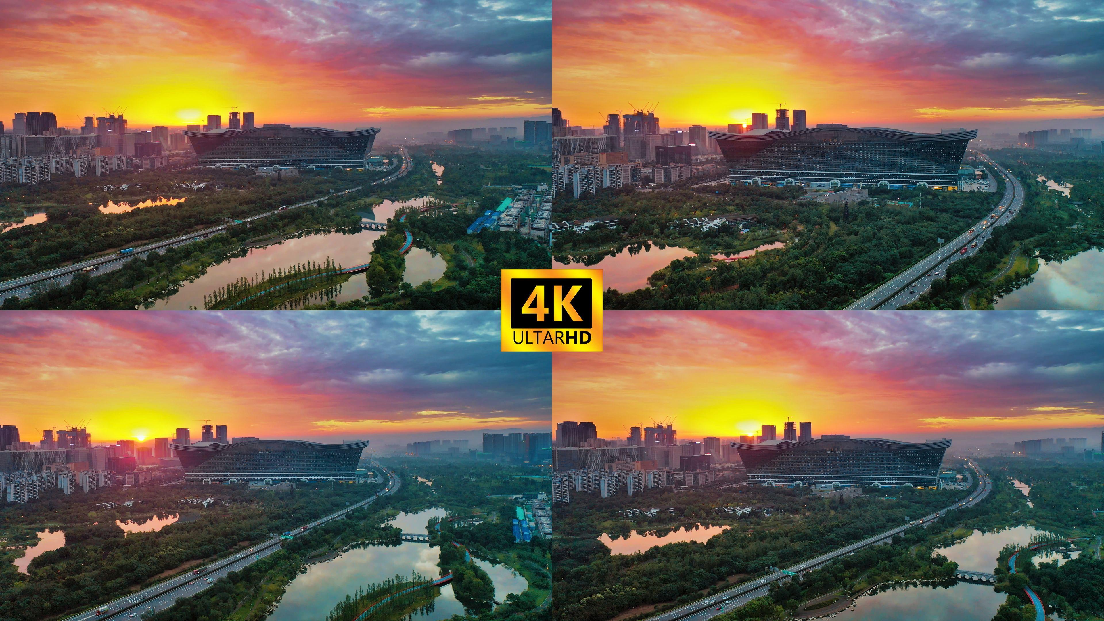 4K成都地标航拍大气素材