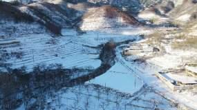 航拍东北辽宁雪后小山村视频素材