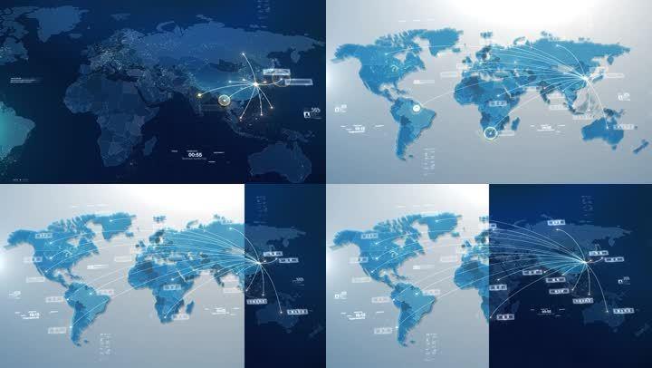 科技感简洁大气全球地图辐射