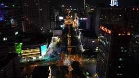 4K石家庄街道夜景航拍视频素材