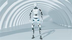 机器人点屏幕带场景视频素材