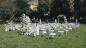 户外草坪高端婚礼场景布置视频素材