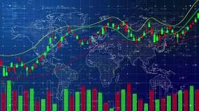 商务金融股票市场K线走势图hud数据图表视频素材