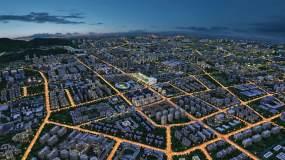 空中鸟瞰城市夜景三维素材视频素材
