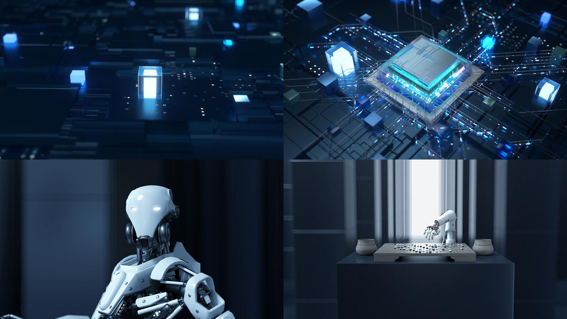 科技人工智能穿梭_C4D工程动画