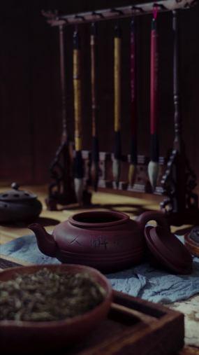 茶具和文房四宝视频素材
