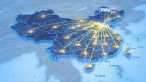 济南钢城区辐射全国网络地图ae模板AE模板