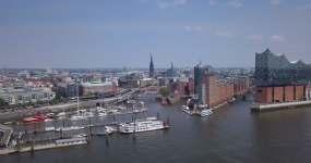 汉堡港航拍视频素材