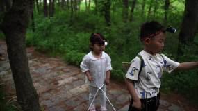 孩子夏令营野外探险视频素材