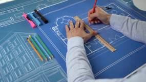 设计师绘制图纸视频素材