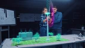 工程师使用AR设备设计风力发电视频素材