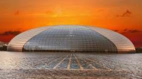 国家大剧院延时北京黄昏美景水煮蛋北京建筑视频素材