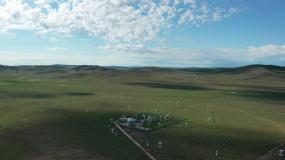 蓝天白云下的天文观测站航拍视频素材