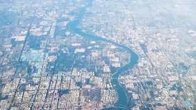 飞机航拍平原城市海岸线视频素材