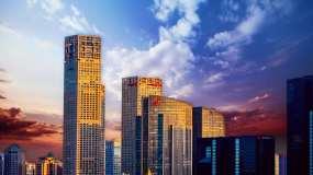 北京国贸延时摄影黄昏美景北京CBD云彩视频素材