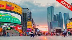 长沙黄兴广场步行街美食街人流视频素材