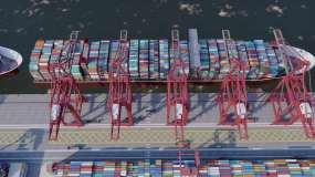 港口集装箱货轮航行视频素材